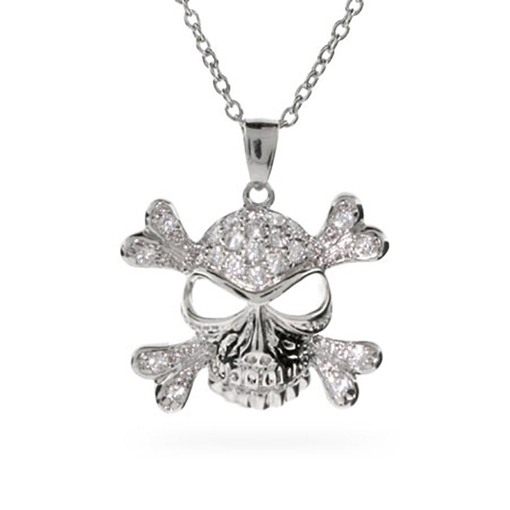Pave white cz skull and crossbones necklace pave cz skull crossbones pendant aloadofball Gallery