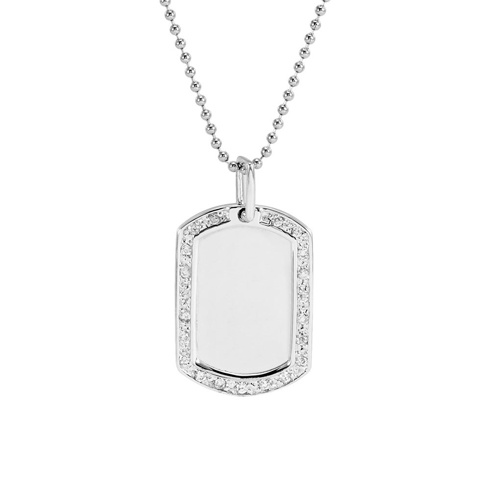 Cz edged silver dog tag necklace cubic zirconia edged sterling silver dog tag pendant aloadofball Images