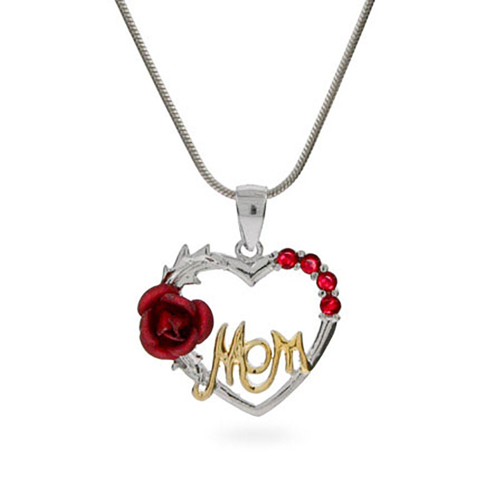 Sterling silver mom pendant with single red rose mozeypictures Choice Image