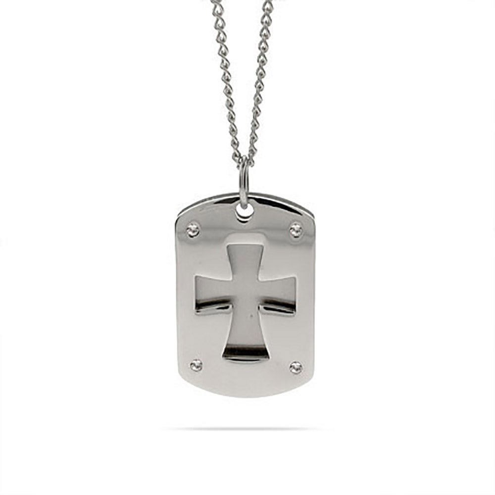 Double cross dog tag pendant eves addiction engravable cross double dog tag necklace audiocablefo