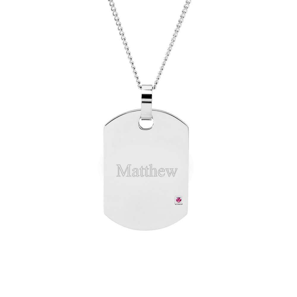 70e5b0ed8160 Engravable Birthstone Dog Tag Necklace
