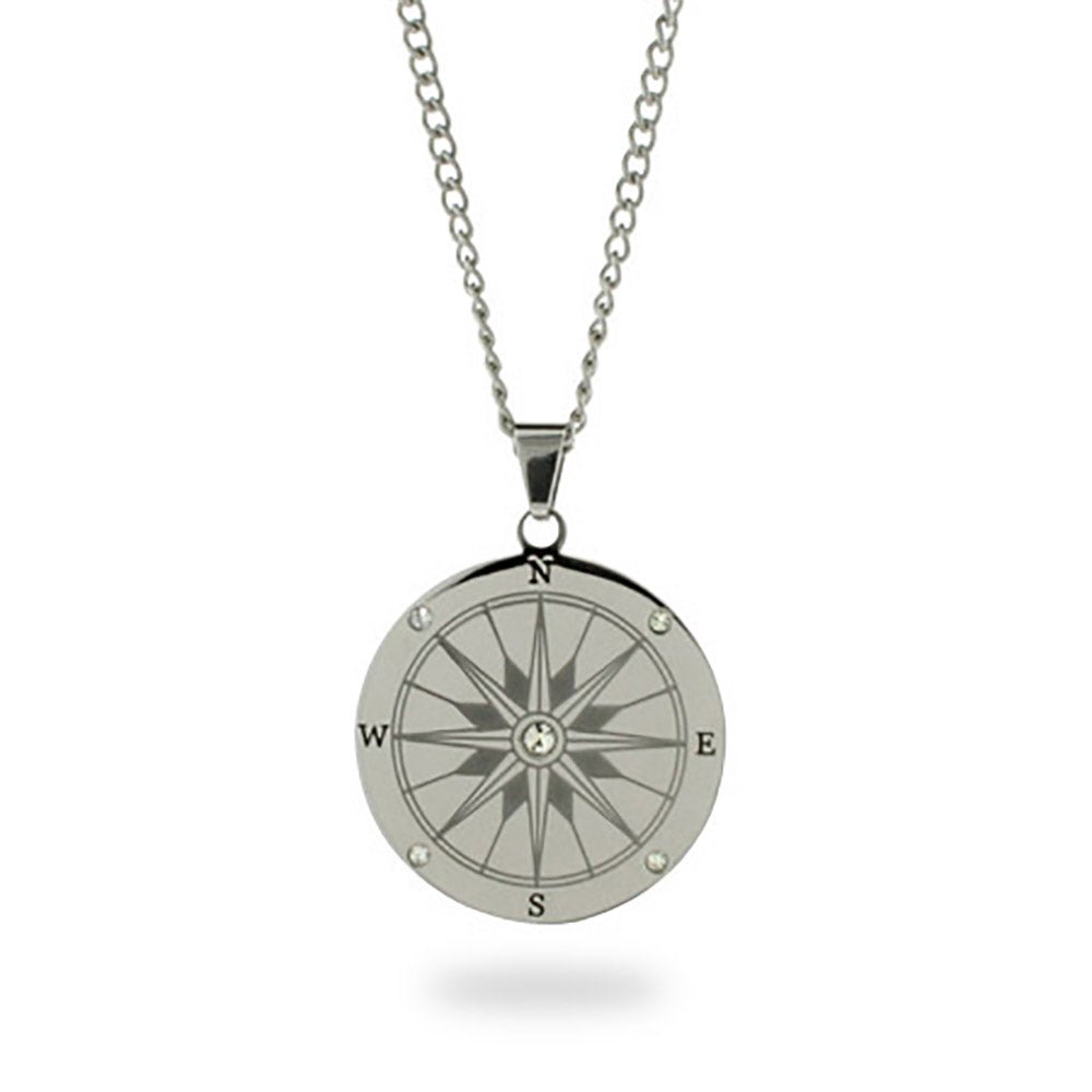 compass eve stainless s pendant necklace addiction steel engravable