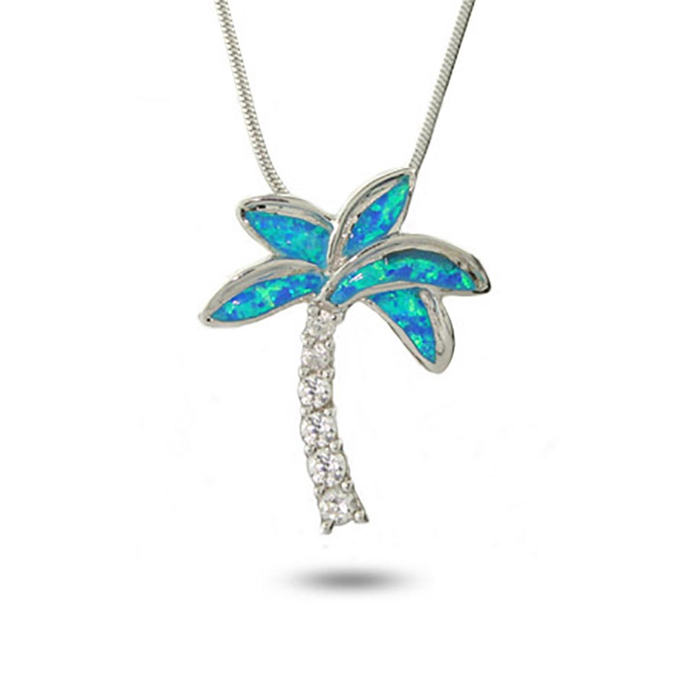 And cz palm tree pendant eves addiction designer style genuine opal and cz palm tree pendant mozeypictures Gallery