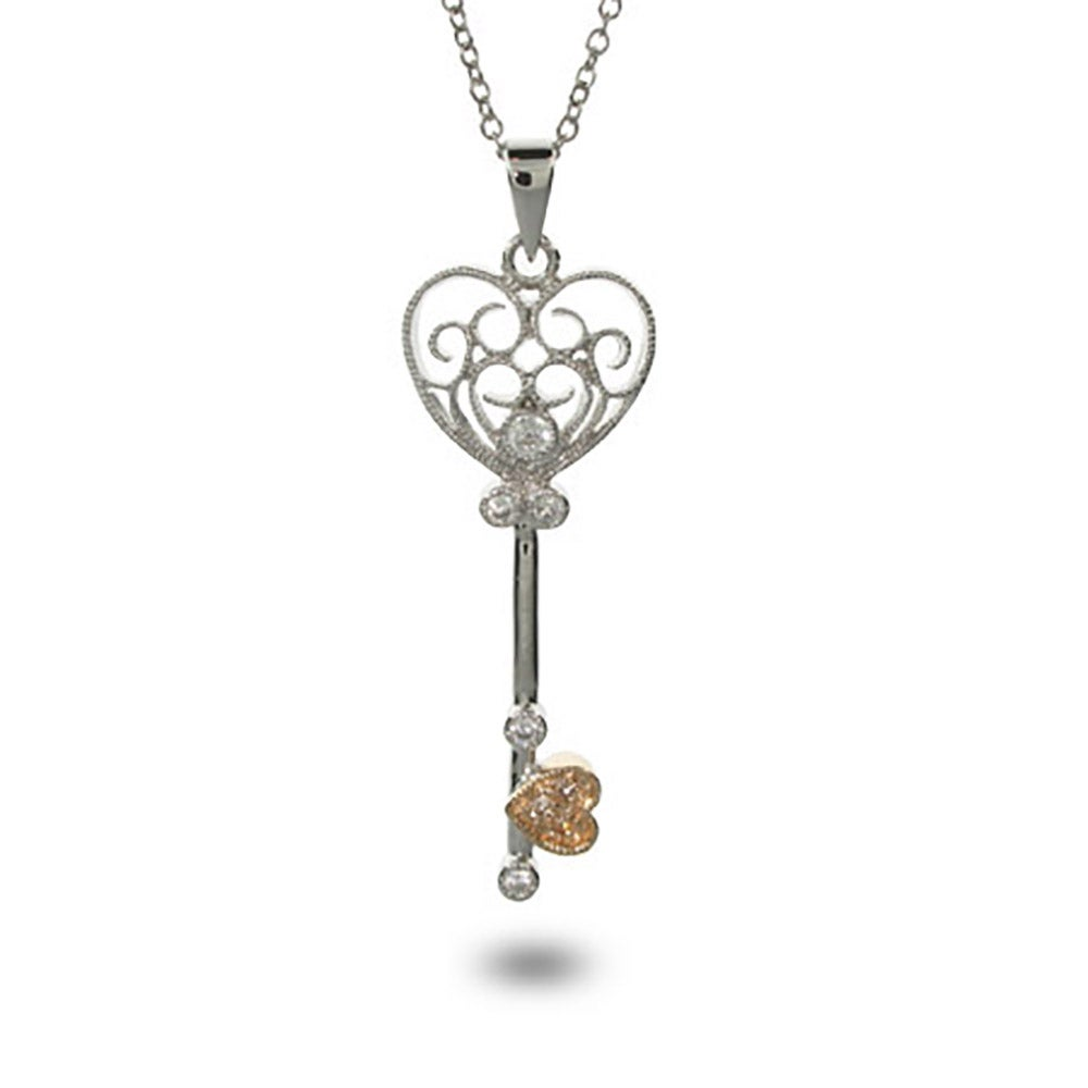 Style CZ Heart Shaped Key Necklace