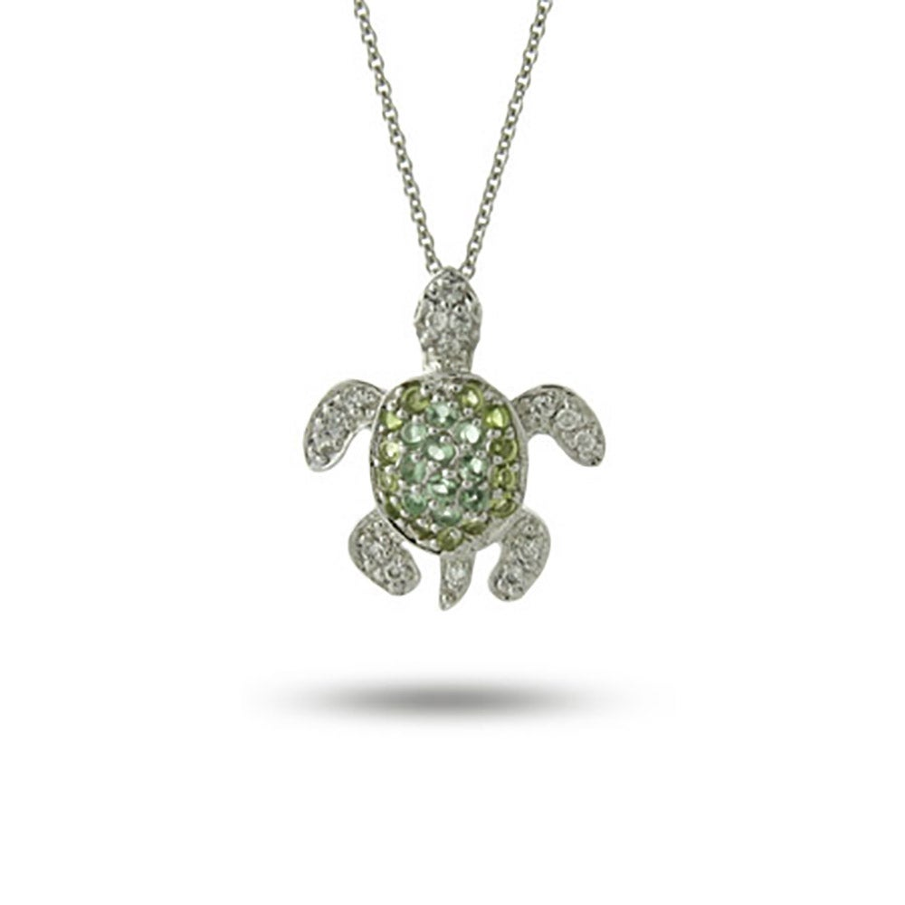 Sterling silver green cz sea turtle pendant green cz sea turtle pendant mozeypictures Images