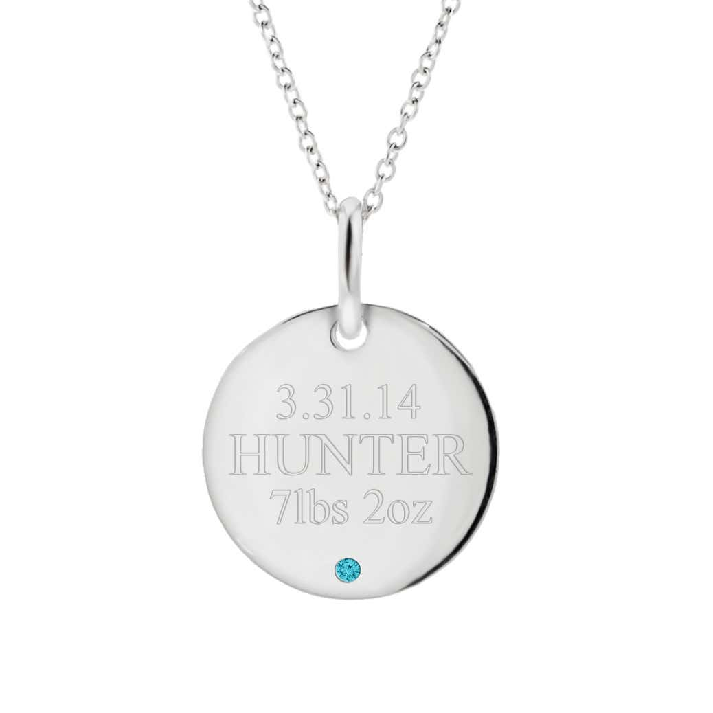 f480c0593 Baby Birthstone Engravable Mother's Necklace