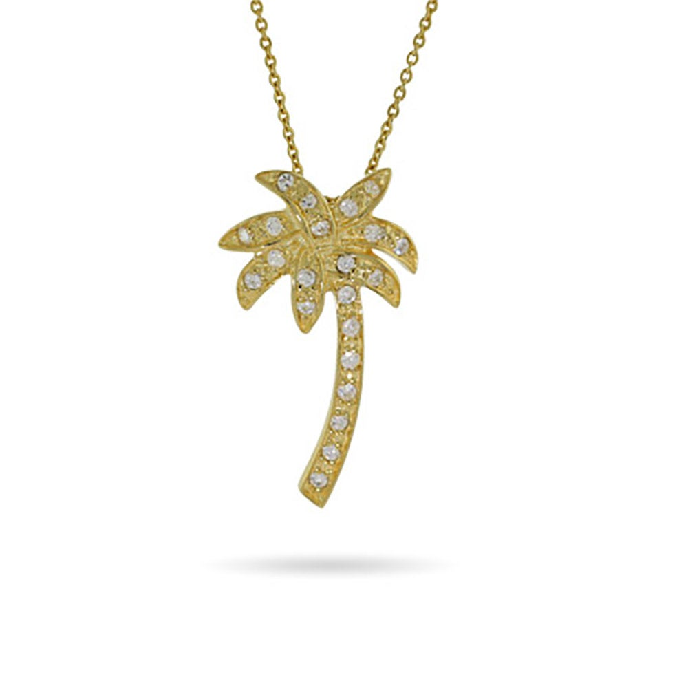 Vermeil cz palm tree pendant eves addiction designer style gold vermeil cz palm tree pendant mozeypictures Gallery