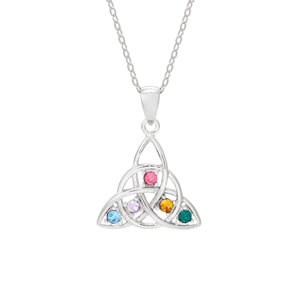 Custom 5 Stone Celtic Trinity Knot Necklace