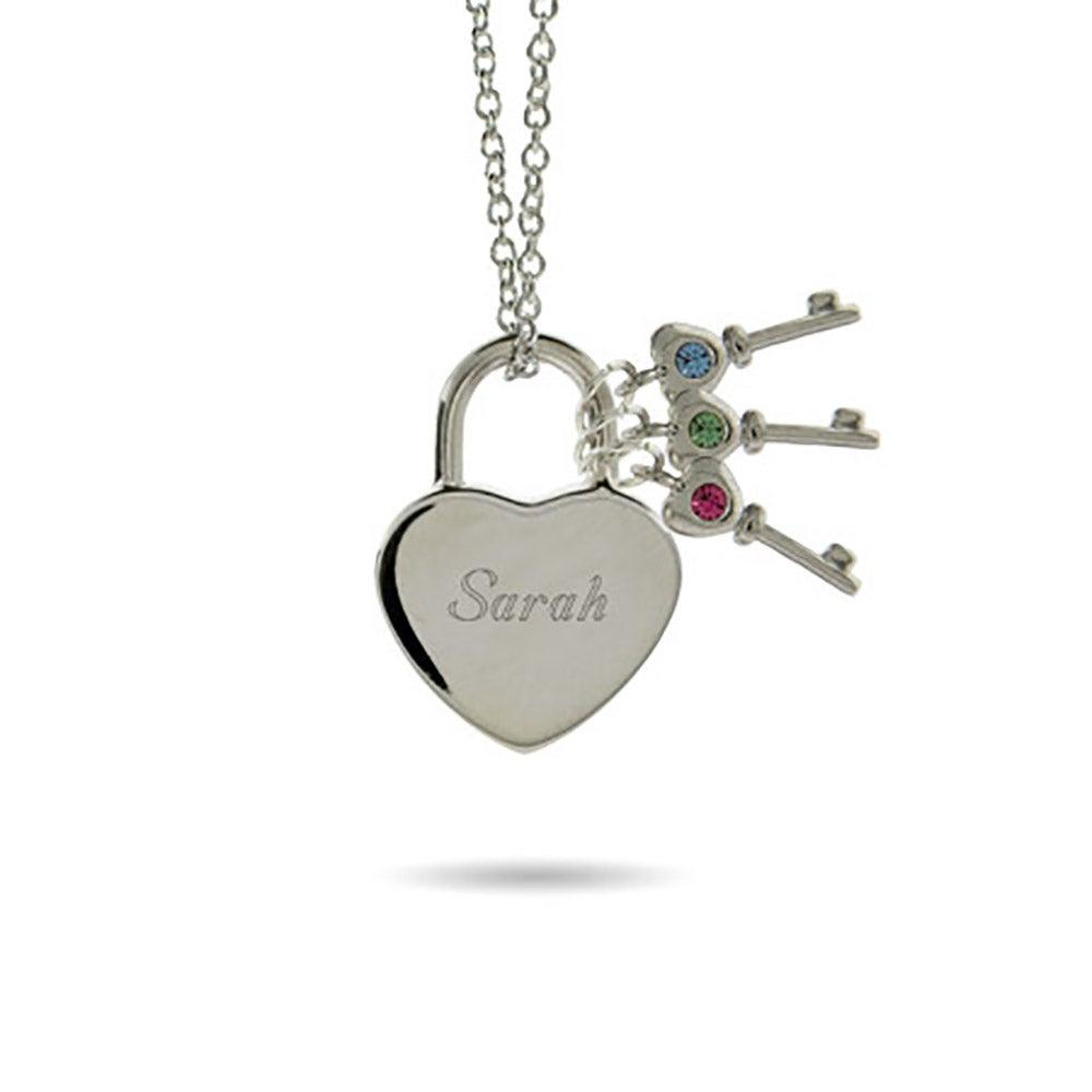 Engravable heart lock pendant with 3 birthstone keys aloadofball Gallery