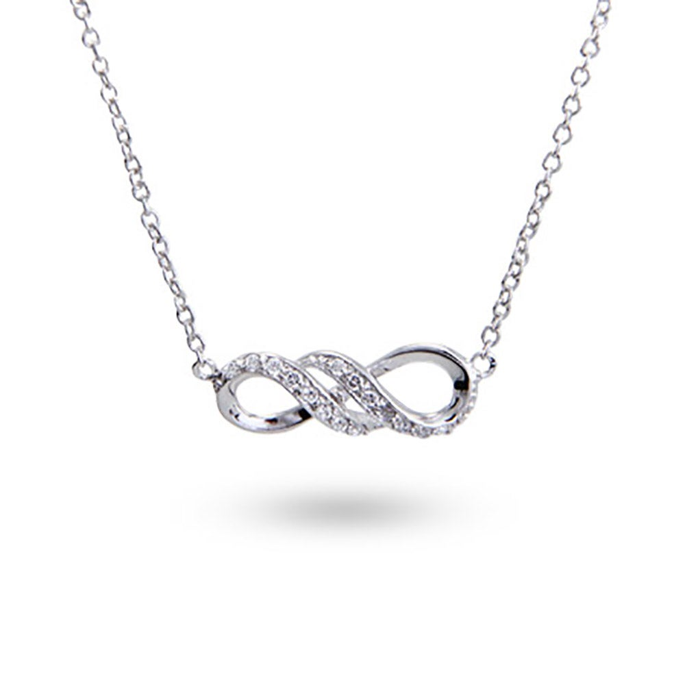 Personalized infinity necklace eves addiction sterling silver cz infinity necklace biocorpaavc Image collections