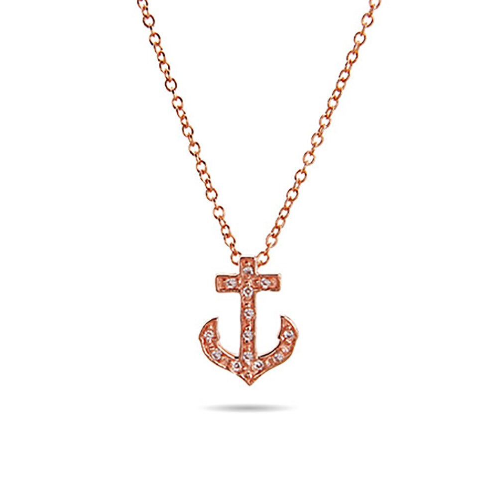 Gold cz petite anchor pendant eves addiction designer style rose gold cz petite anchor pendant aloadofball Choice Image