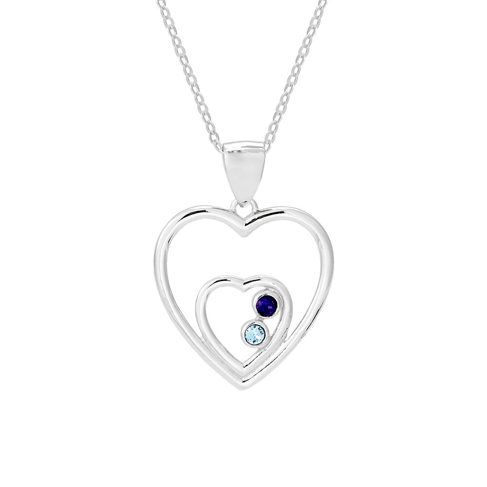 Two hearts birthstone austrian crystal couples necklace two hearts 2 stone couples birthstone pendant aloadofball Image collections