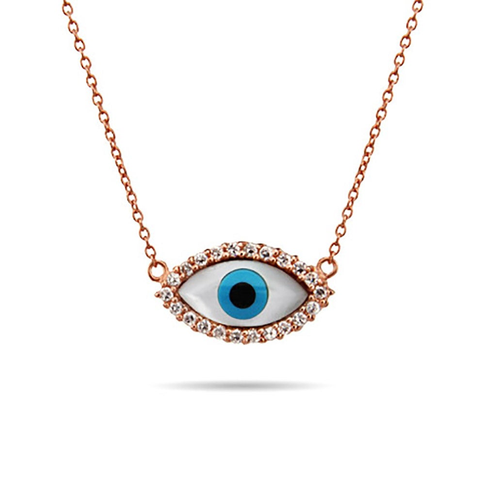 rhodium luckily swarovski plating necklace evil eye in necklaces