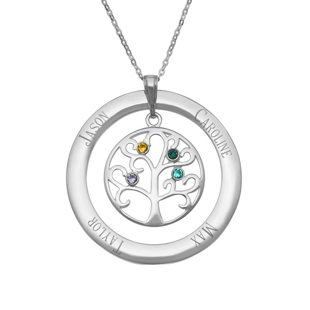 tree gold necklace hand mother gift products personalized engraved layered with stamped family color names disc for