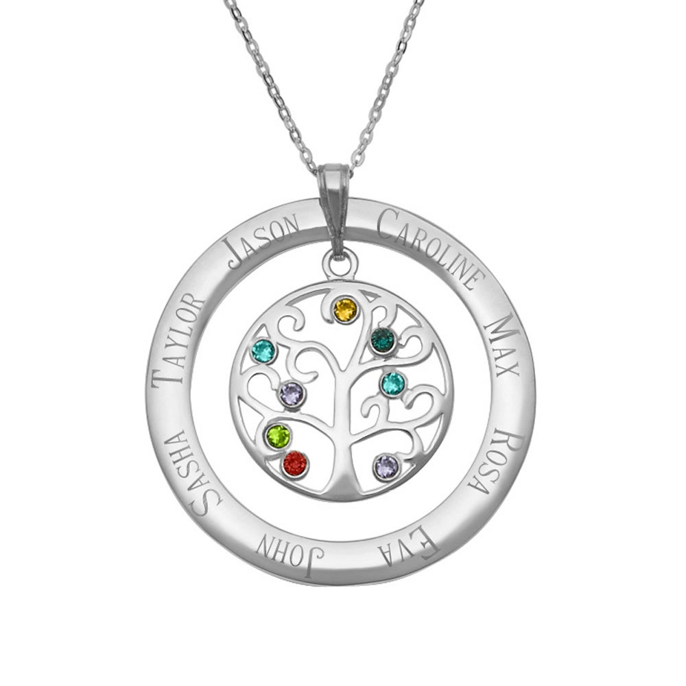 birthstone tree family vermeil stone plated gold pendant necklace pin trees
