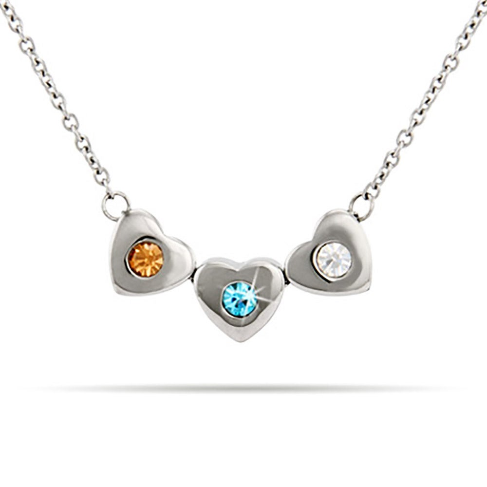 3 stone family of hearts birthstone necklace 3 stone family of hearts custom birthstone necklace mozeypictures Choice Image