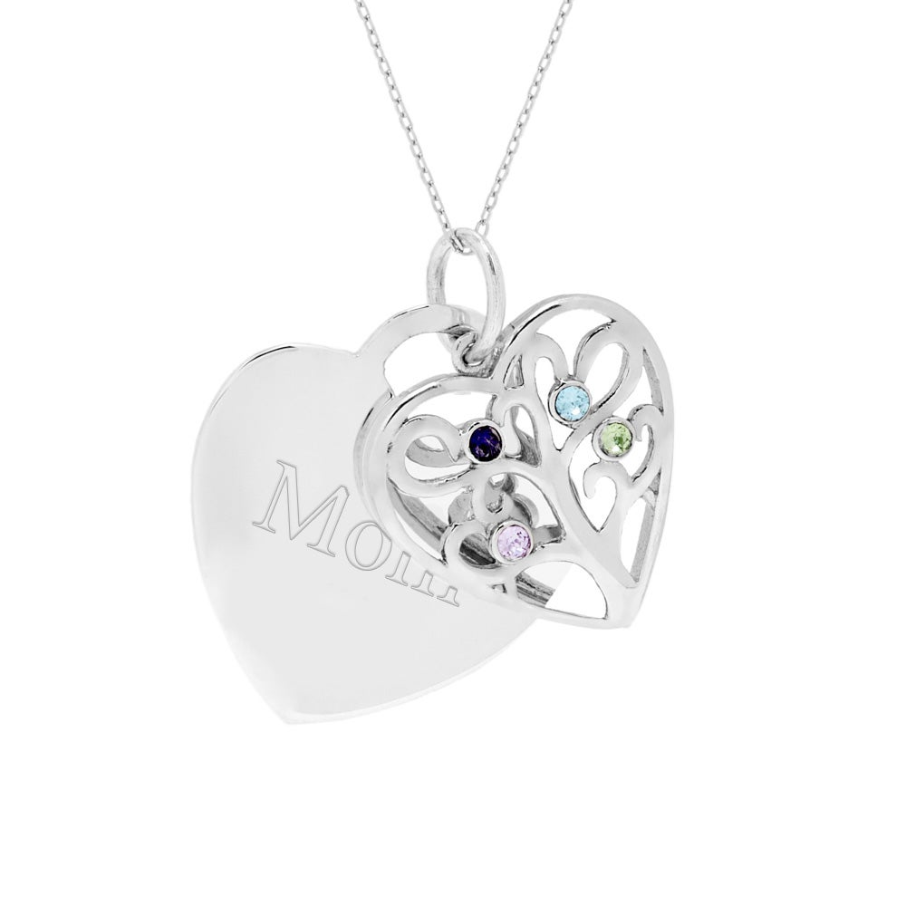 silver sterling necklace family tree of life engraved product