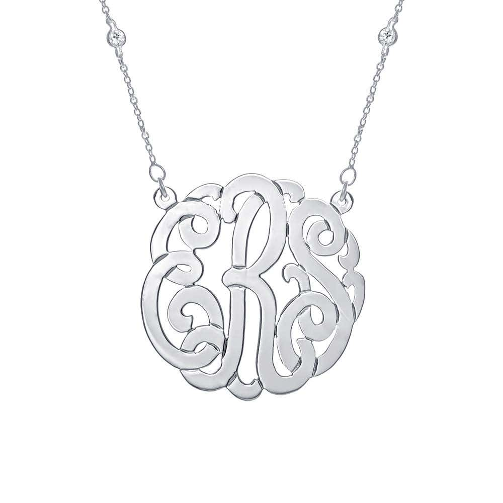 62f86b959759 CZ Studded Chain Sterling Silver Monogram Necklace