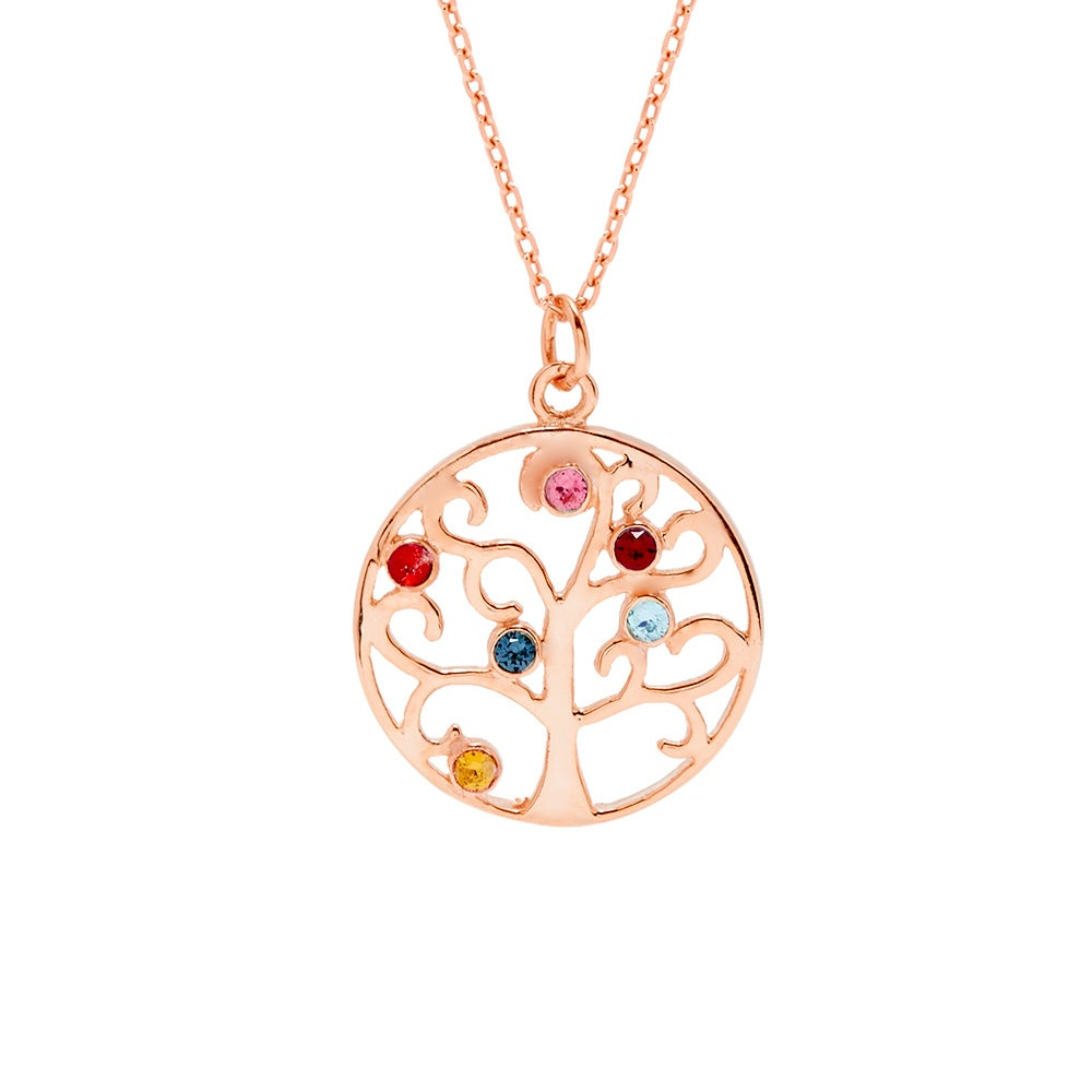 6 stone rose gold plated birthstone family tree pendant 6 stone rose gold plated custom birthstone tree pendant aloadofball Gallery