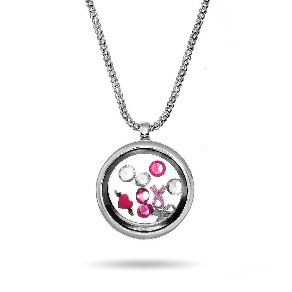 breast necklace floating cancer lockets locket awareness charm