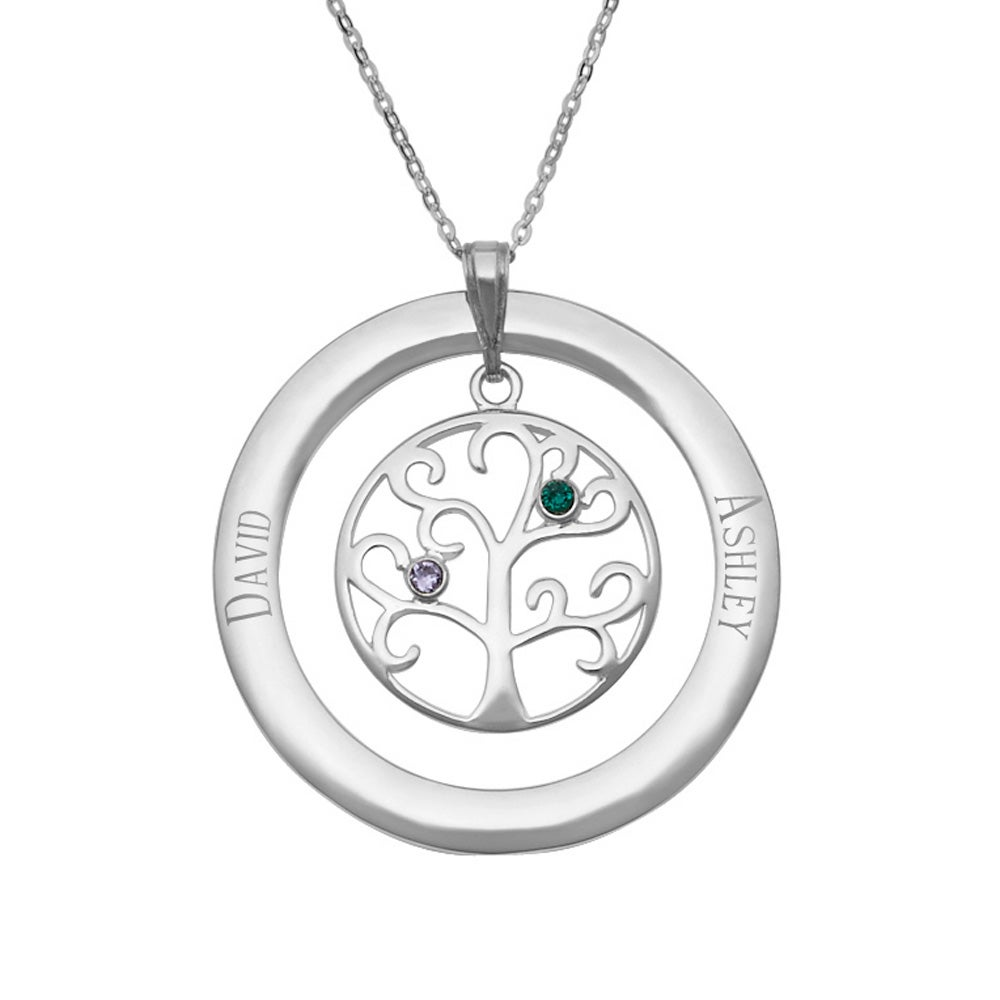 4 birthstones family tree necklace pendant 2 stone personalized birthstone family tree pendant aloadofball Gallery