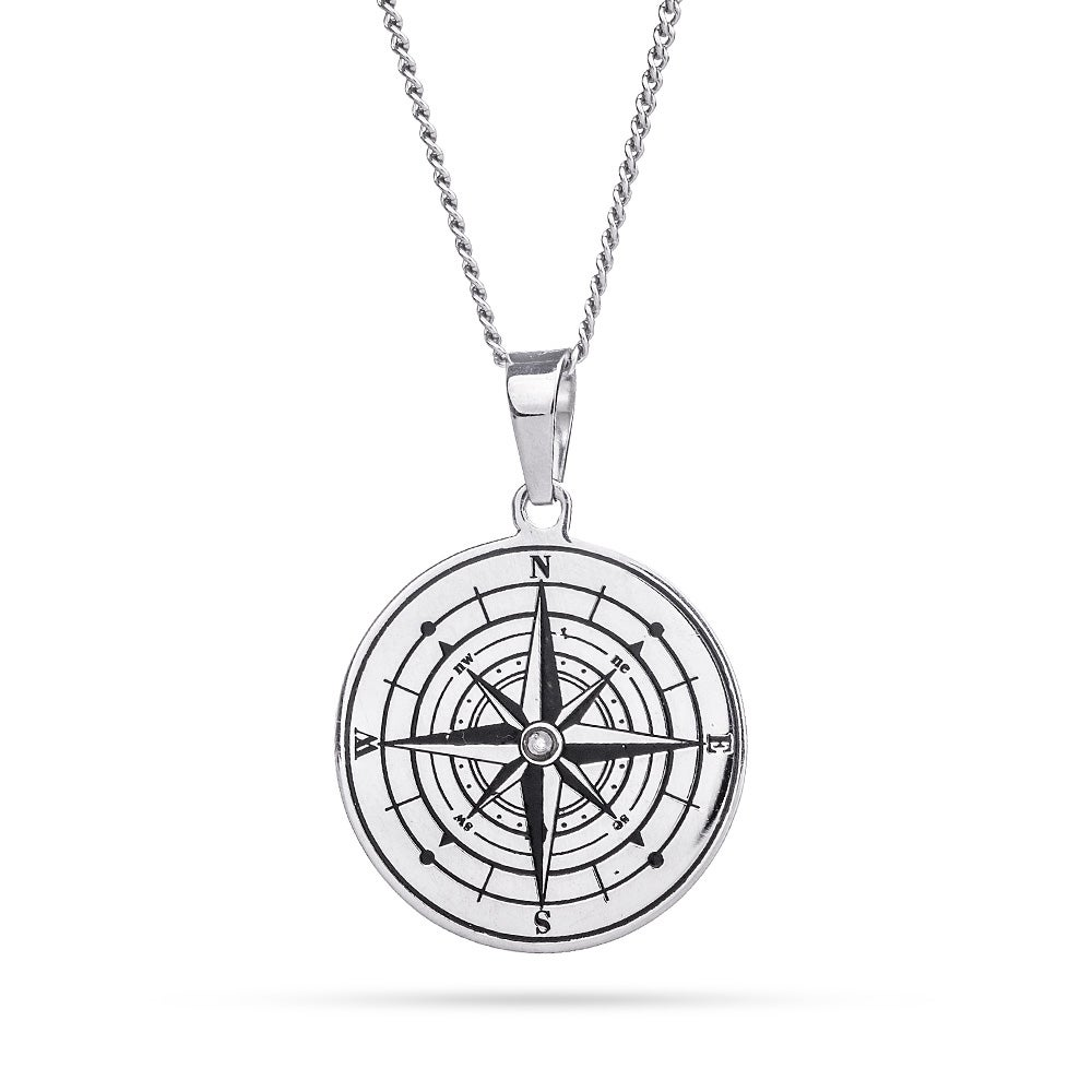 necklace sterling compass silver pendant chain on htm item
