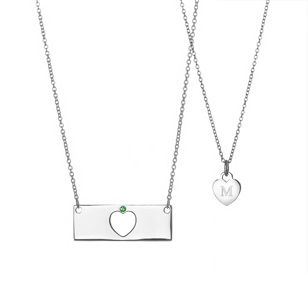 Daughter custom birthstone heart bar necklace set mother daughter birthstone heart bar necklace set mozeypictures Choice Image