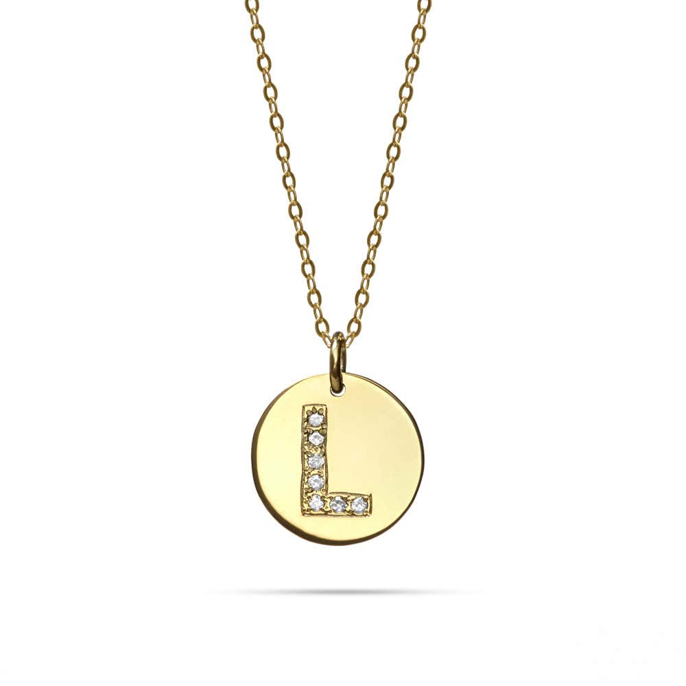 14k Gold Diamond Initial Disc Pendant