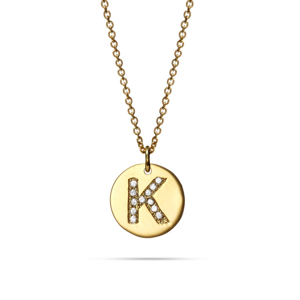 diamond initial gold plated disc necklace. Black Bedroom Furniture Sets. Home Design Ideas