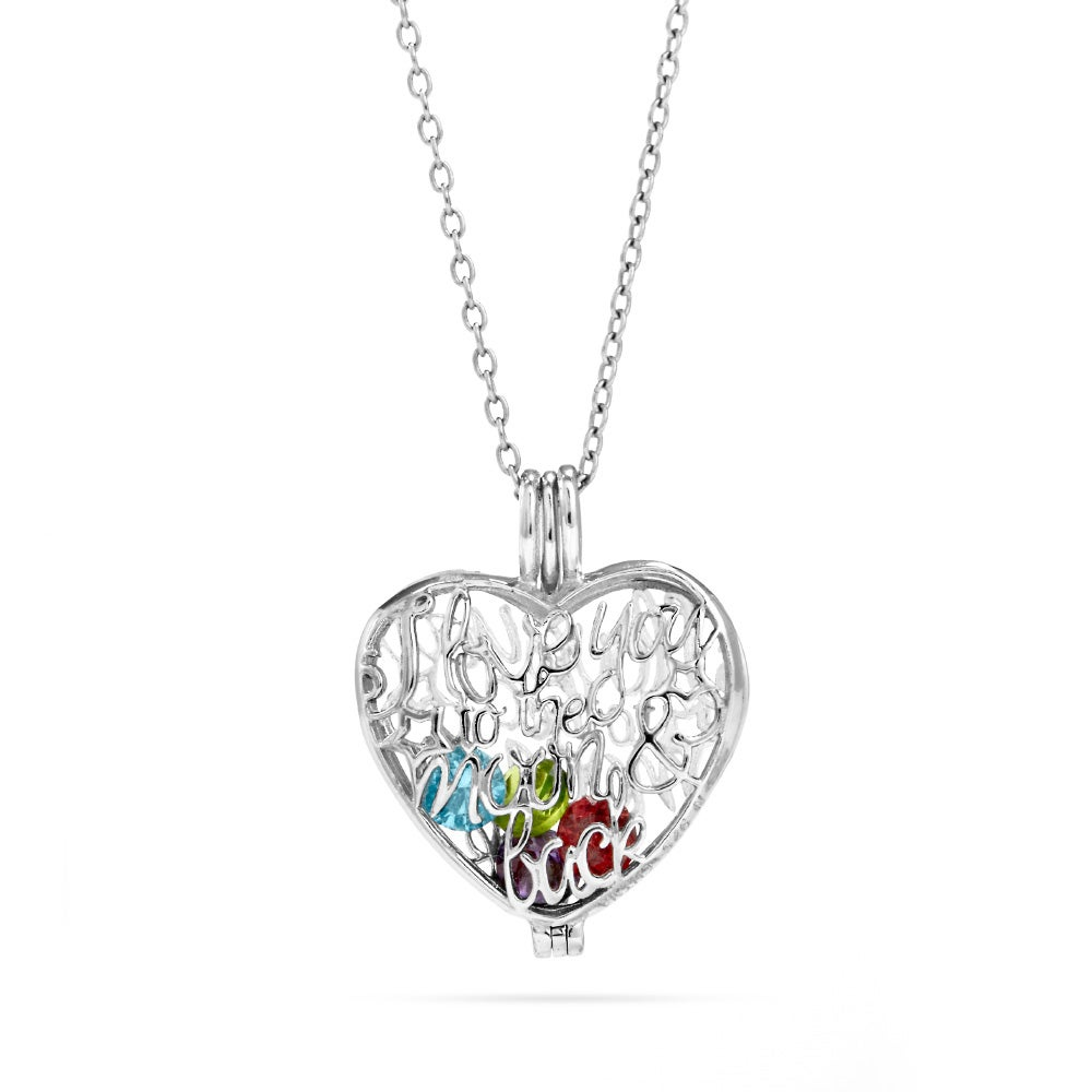 Love You To The Moon and Back Birthstone Locket