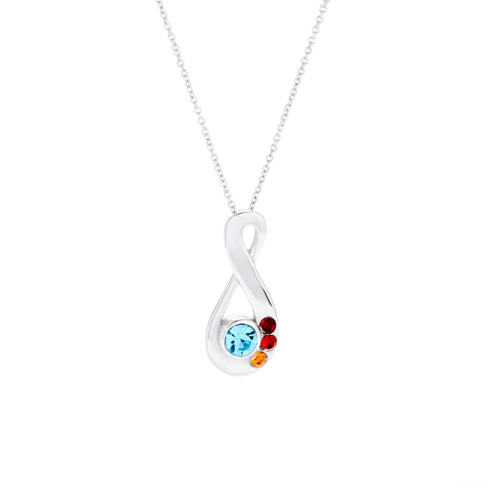 4 stone silver infinity mothers birthstone necklace 4 stone silver infinity mothers birthstone pendant aloadofball Image collections