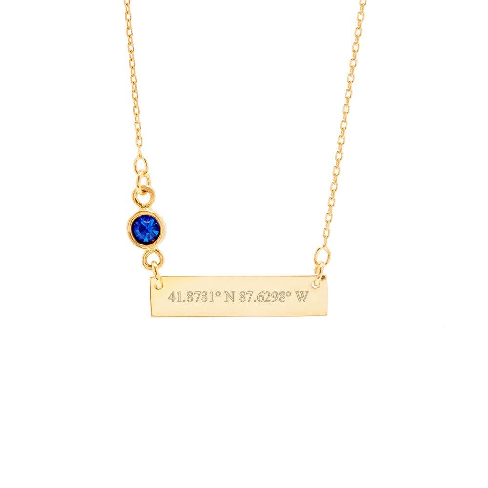 custom coordinate bezel set birthstone gold bar necklace