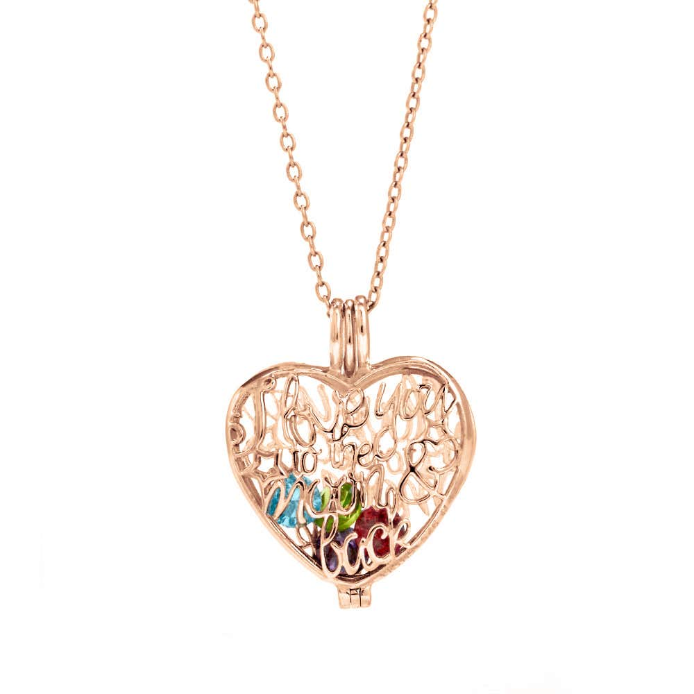 bec44034bb I Love You To The Moon and Back Birthstone Rose Gold Locket