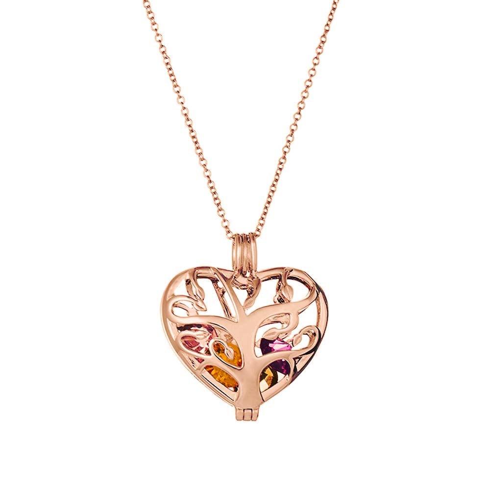 Heart family tree birthstone rose gold locket aloadofball Gallery