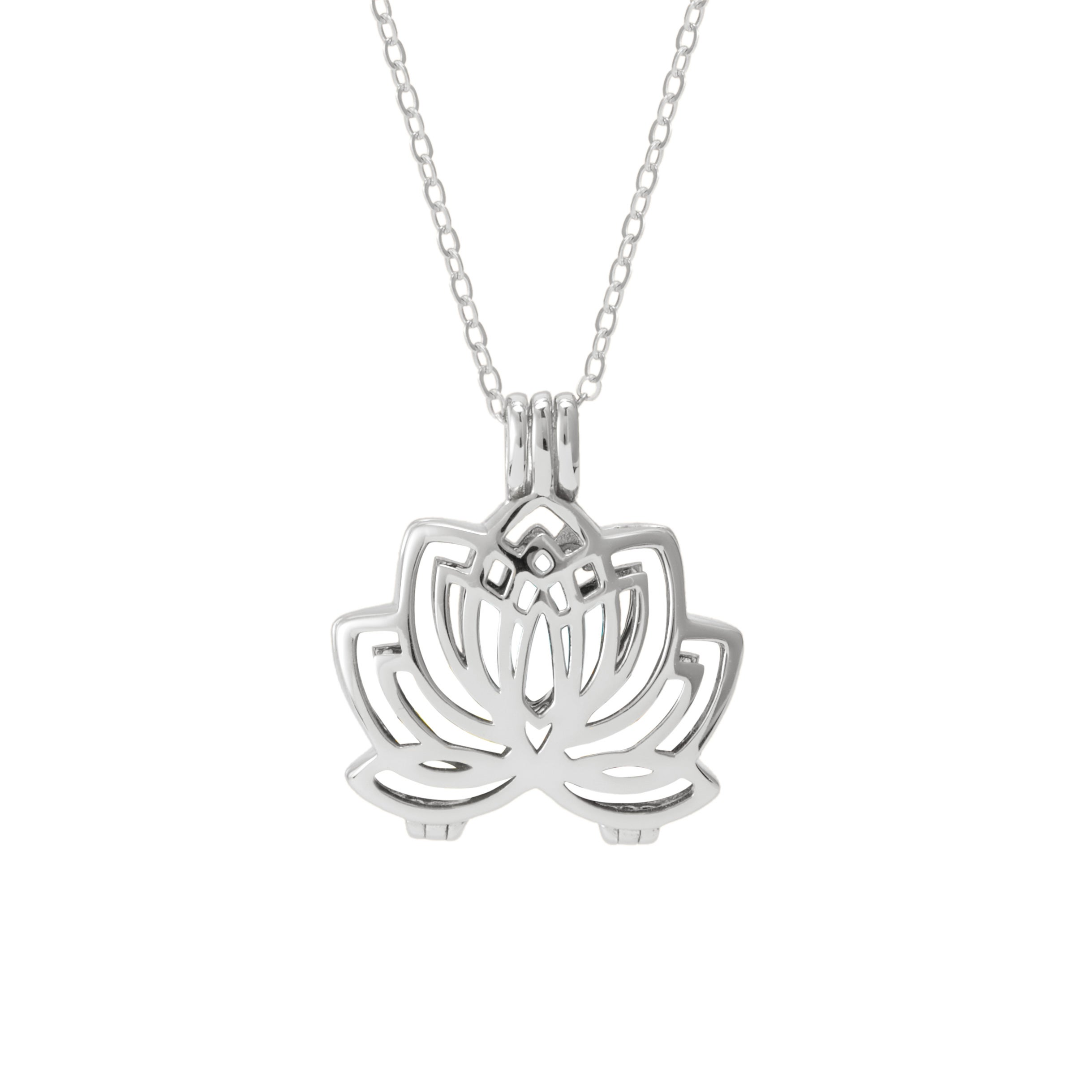 flower jewelry lois lyst necklace in featured silver hill lotus metallic