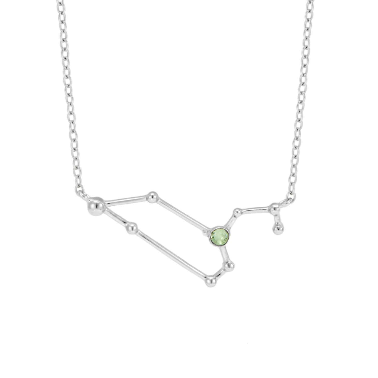 31b9a86410879 Leo Birthstone Silver Constellation Necklace