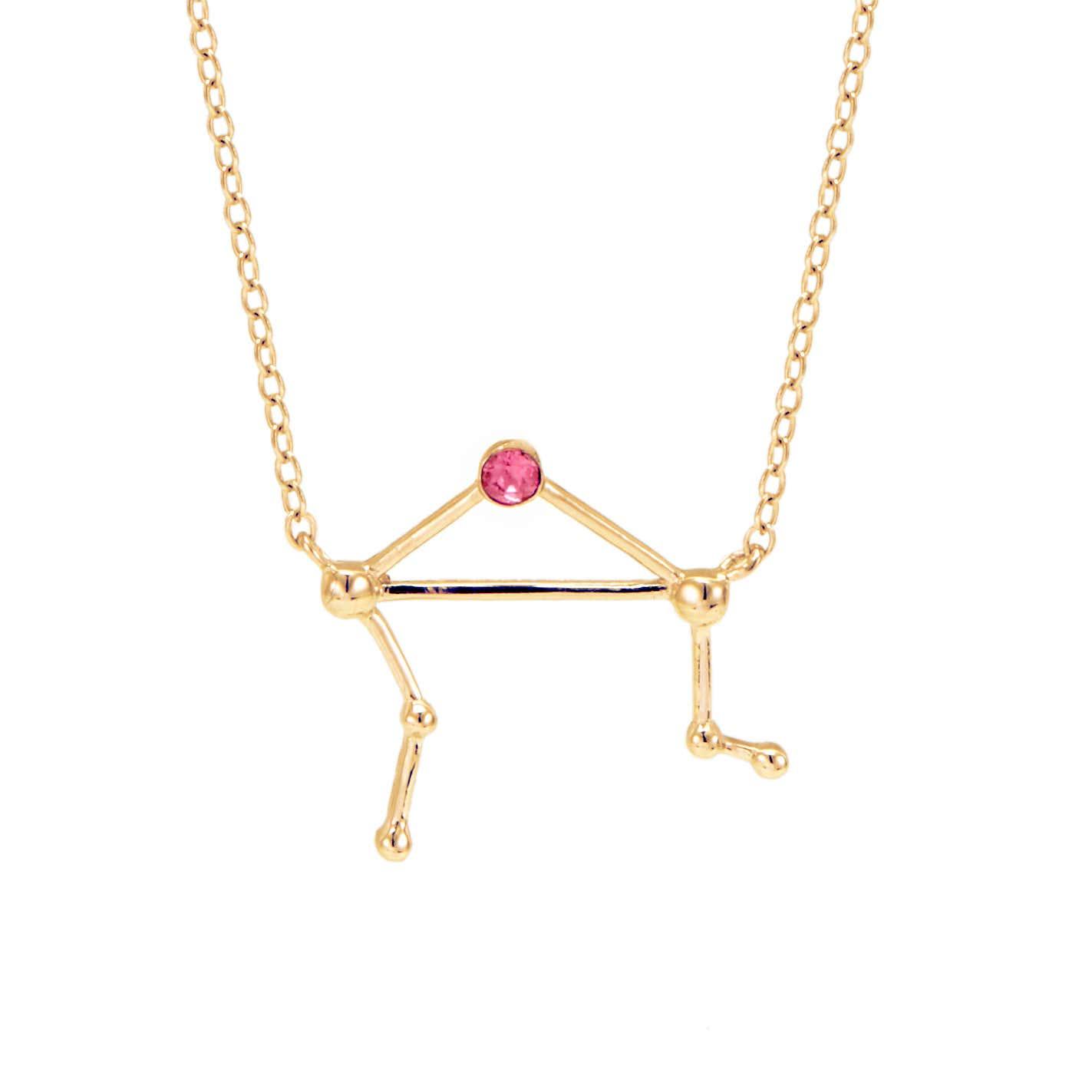 Libra Birthstone Gold Constellation Necklace