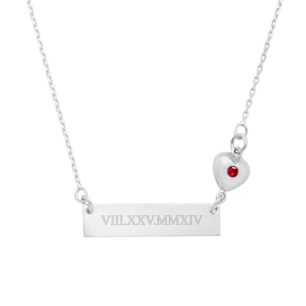 35494ae84af Roman Numeral Name Bar CZ Heart Charm Silver Necklace