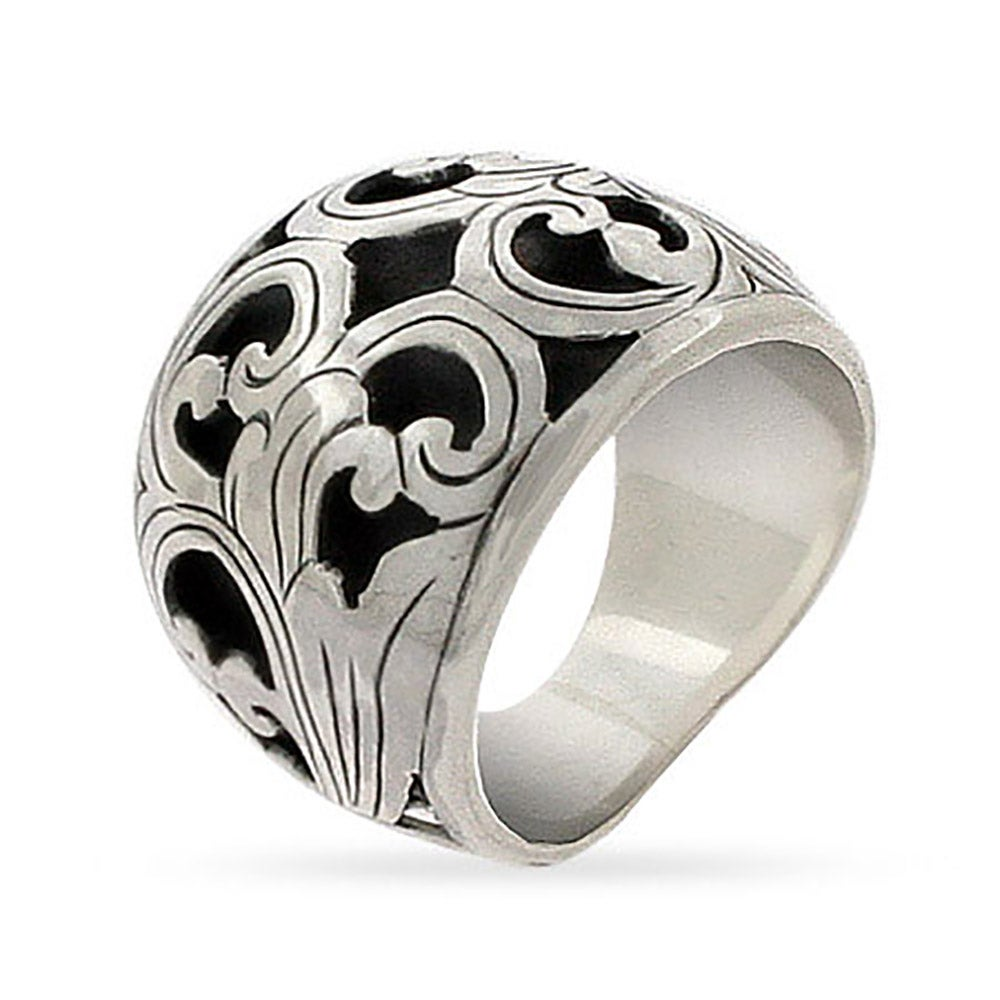 Sterling Silver Bali Ring with Carved Floral Design | Eve\'s Addiction®