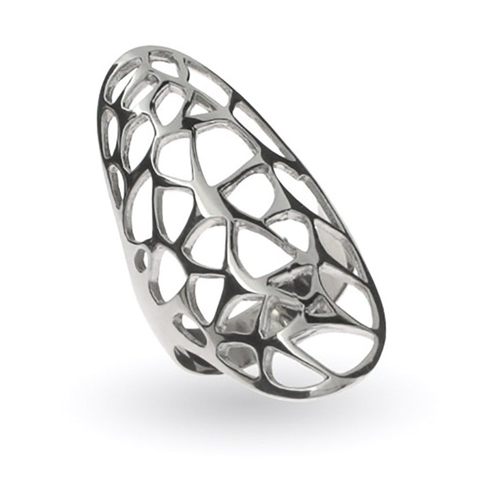 Open Filigree Design Oval Sterling Silver Ring | Eve\'s Addiction®