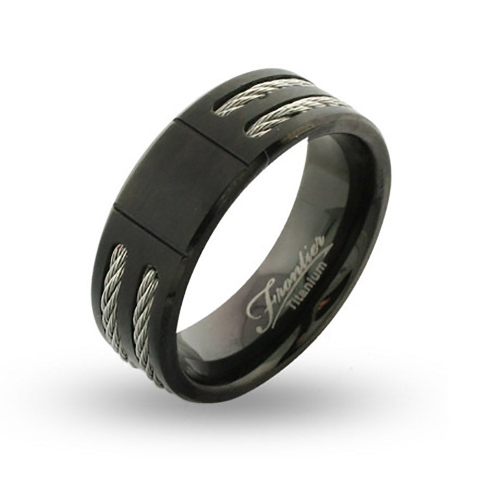 eclipse polished mens band carbide tungsten ring wedding beveled bands black views more titanium