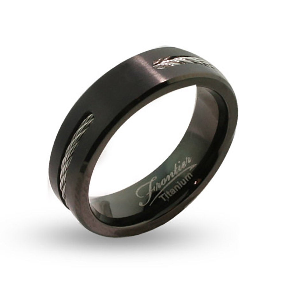 Mens Engravable Black Titanium Signet Ring With Cable Inlay