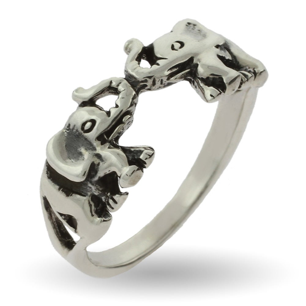 silver rings polished rhodium sterling elephant ring engagement p plated