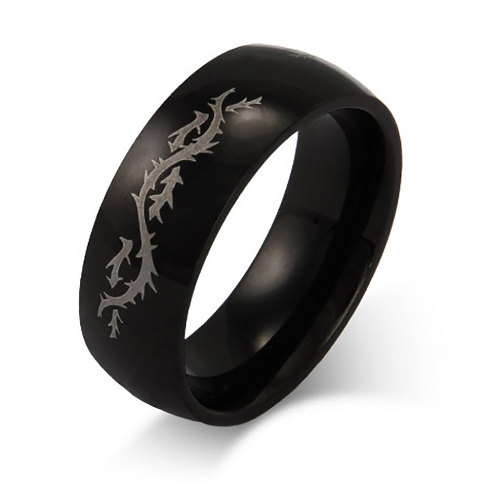Stainless Steel Engravable Dragons Tail Ring Eves Addiction