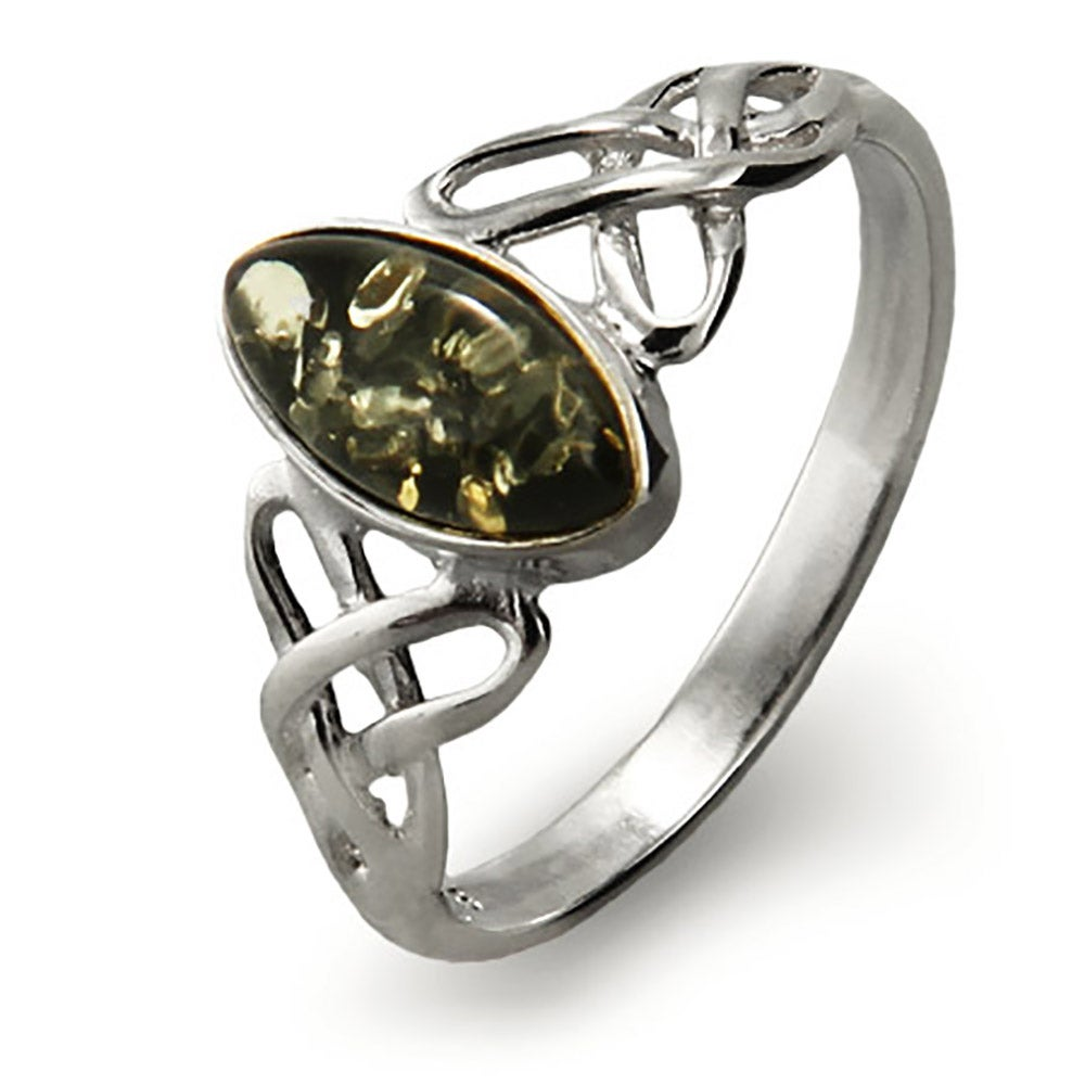 Green Amber Sterling Silver Celtic Ring PXjFH