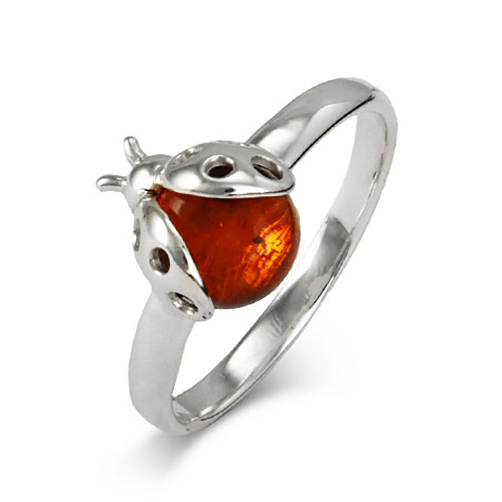 Amber And Sterling Ring