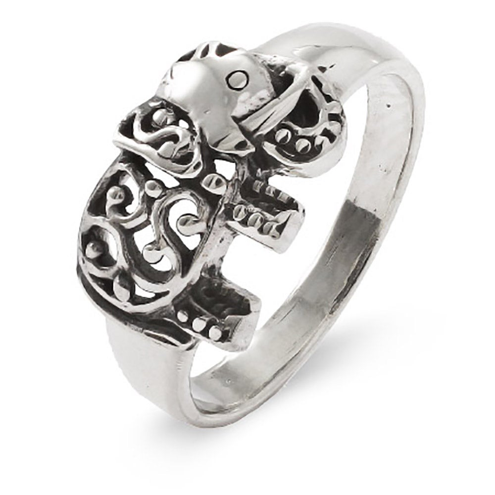 silver lucky to accent elephant engagement elephants spinner ring rings double size sterling
