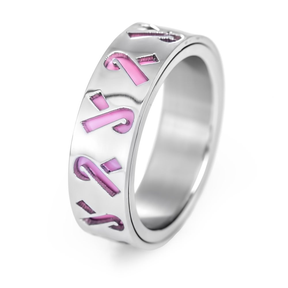 survivor silver double rings cancer ring breast band jewelry