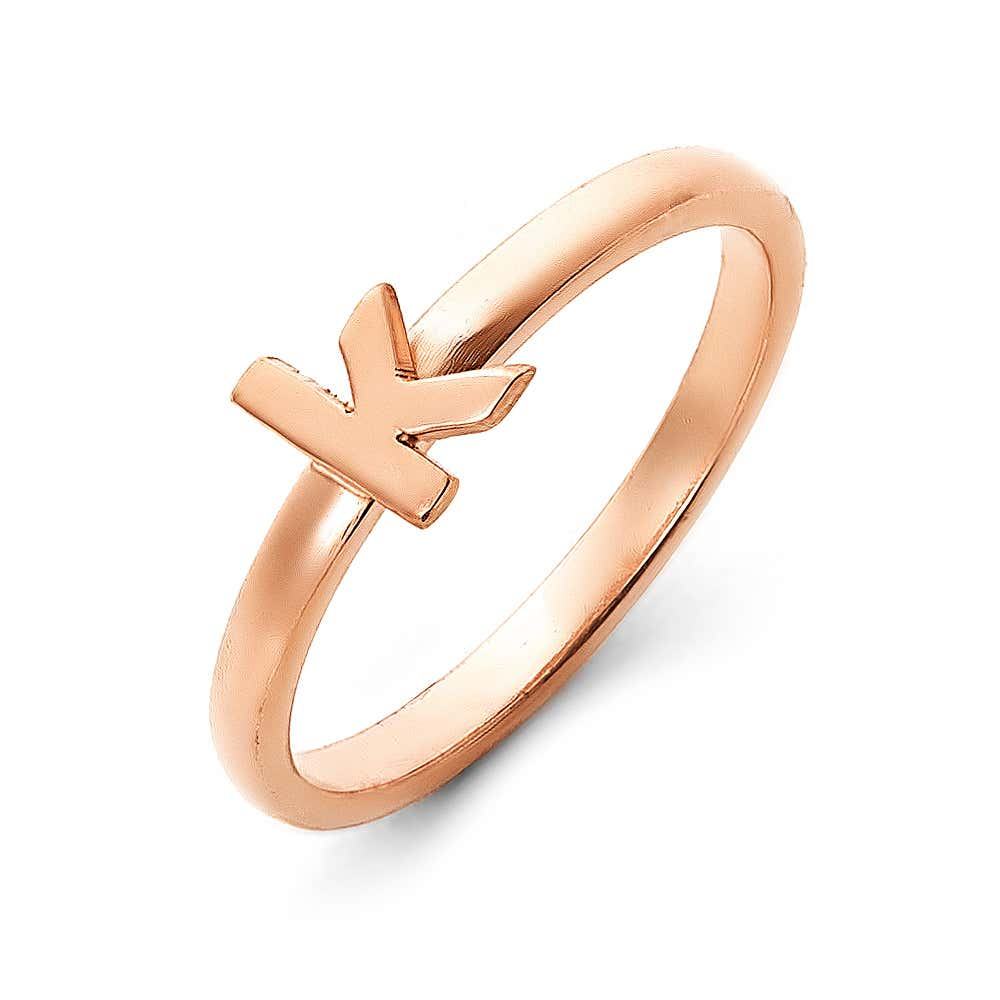 457459f0d7 Personalized Stackable Rose Gold Initial Ring. Double Tap To Zoom