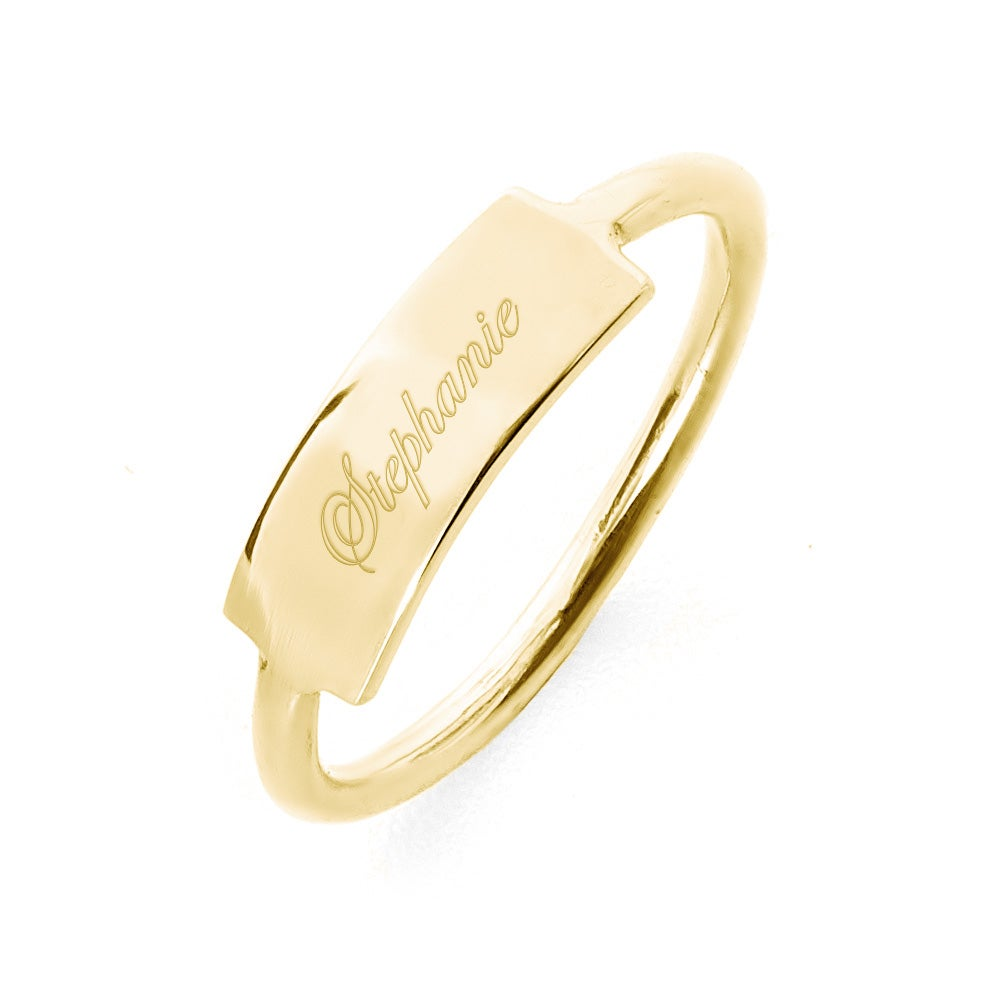 Women's gold signet ring, what is a signet ring with engravable gold signet ring